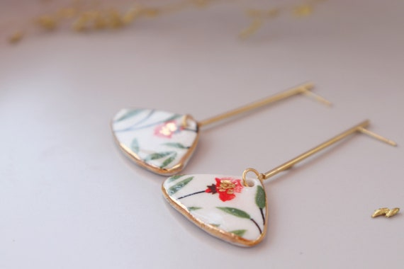 Promo Prix: Fan shaped porcelain earrings