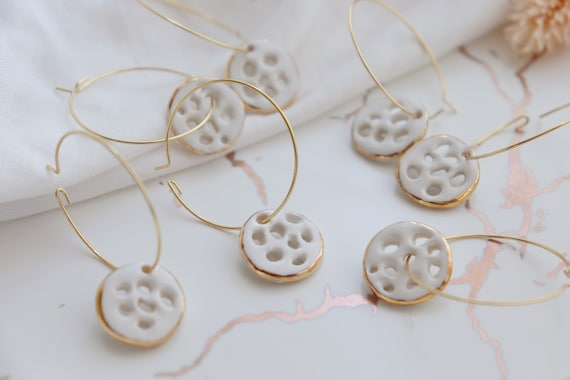 Lotus root porcelain goo earrings
