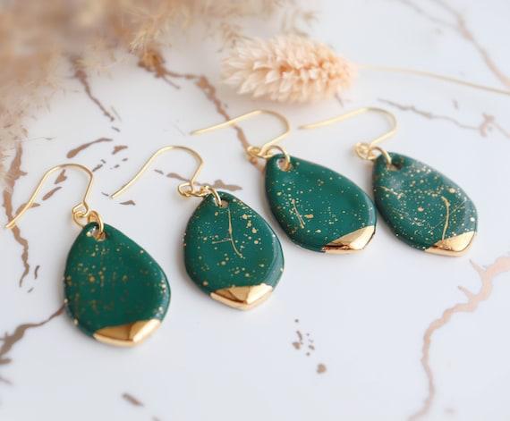 Green Teardrop splashed porcelain earrings