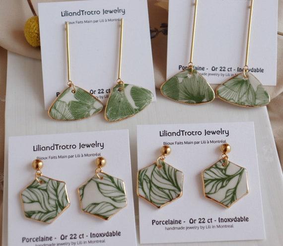 Plants / Ginkgo leaves porcelain dangle earrings