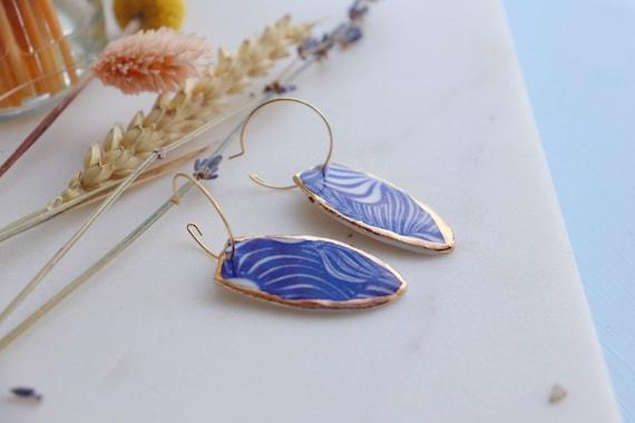 Monstera leaves pattern Gold rim Dangle porcelain Earrings