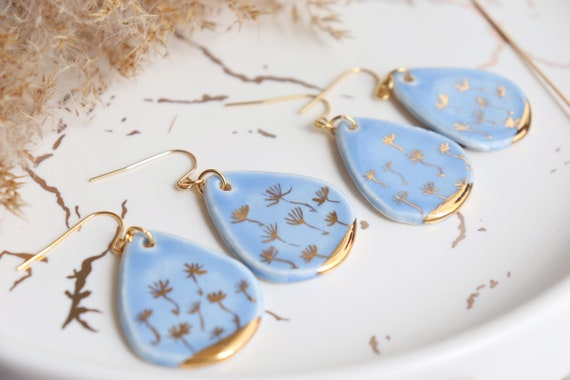 Dandelions in the sky Porcelain earrings