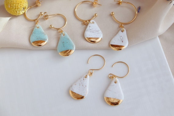 New White / turquoise mini pear shaped gold splashed porcelain dangle earrings