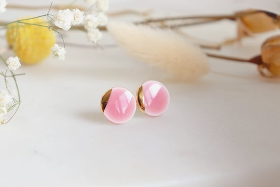 Baby pink / baby blue porcelain studs