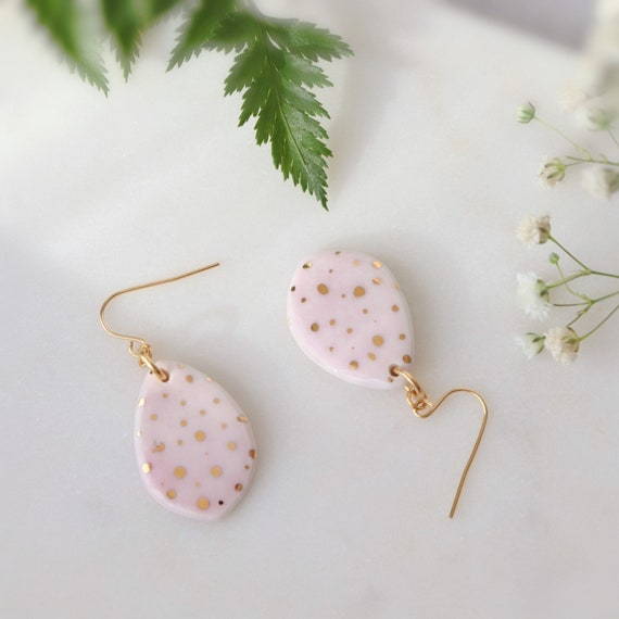 Pink polka dots Dangle porcelain Earrings