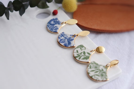 Fan shaped Blue/Green floral porcelain dangle earrings