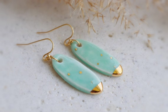 Mint surfboard shaped porcelain earrings