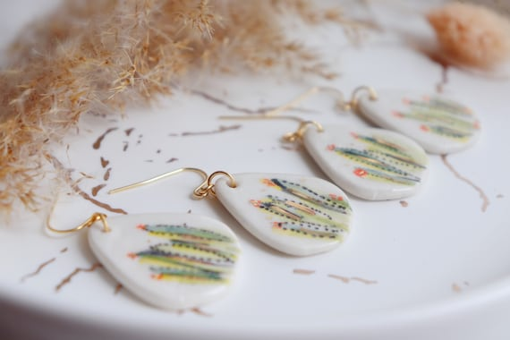 Cactus  Dangle porcelain Earrings