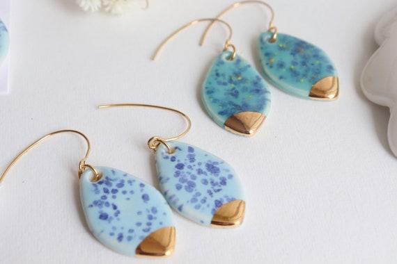 Medium size teardrop shaped Long hooks porcelaine earrings