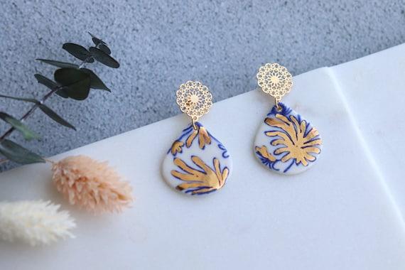 Chrysanthemums flower gold  porcelain  Dangle Earrings