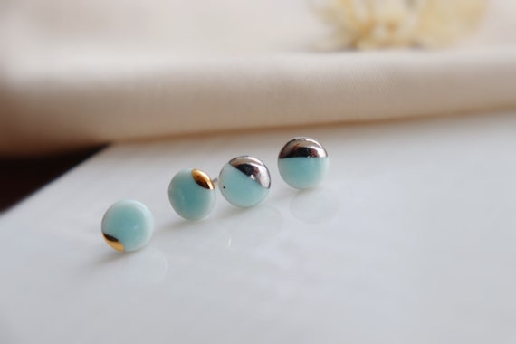 New Mini light turquoise round button porcelain studs