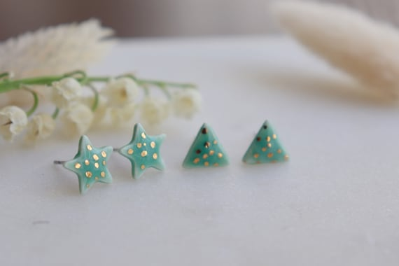 Baby pink gold dots triangle porcelain studs
