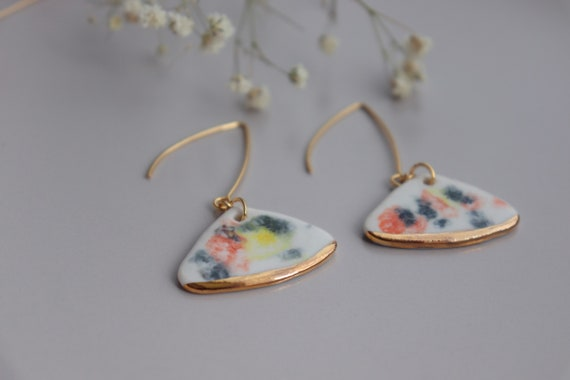 Water color fan shaped  porcelain dangle earrings