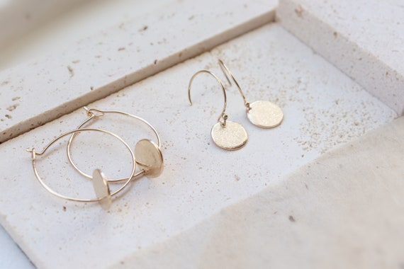 Minimal 14kt gold filled hoop pendent earrings, hand forged, handmade