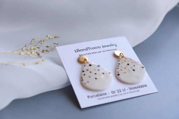 Polka dots Dangle porcelain Earrings, Statement Jewelry, dangle and tear Drop Earrings, Gift for her