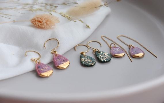 Dainty porcelain dangle earrings