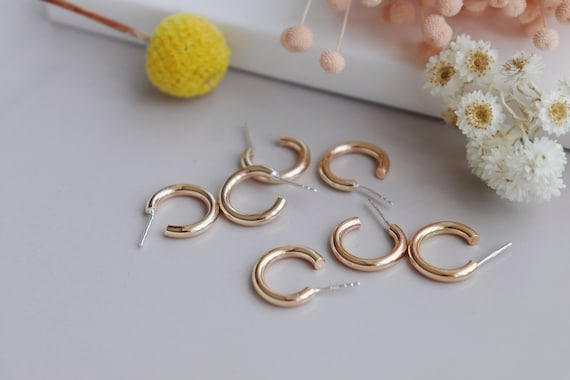 Thick 14kt gold filled   3/4 open hoop studs