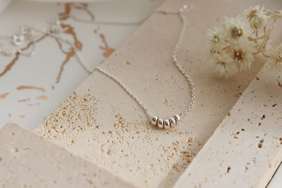 Minimalist silver beads silver necklaces