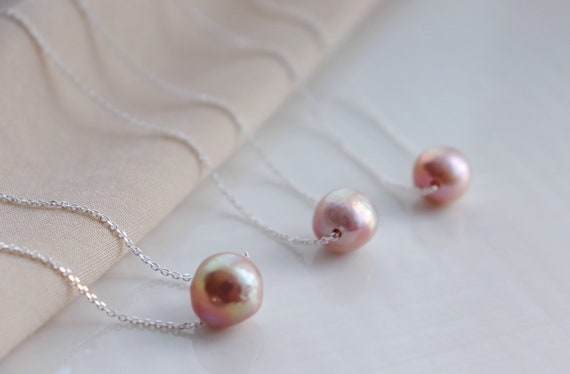 Pink Kasumiga pearl silver necklaces