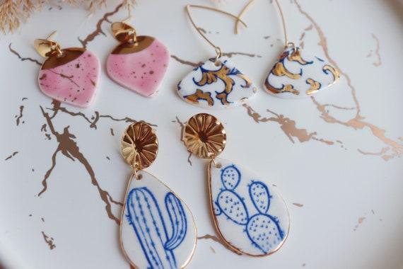 Fan  shaped porcelain dangle earrings