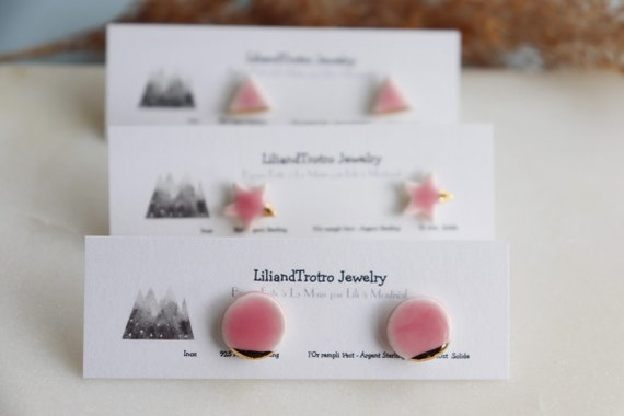 Baby pink/ white triangle Gold dipped porcelain studs /22kt gold luster