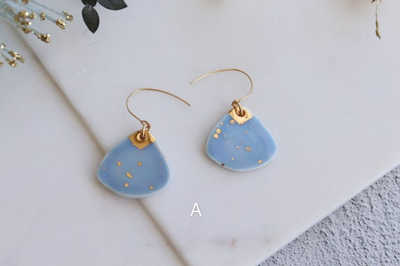 Light sky blue porcelain earrings