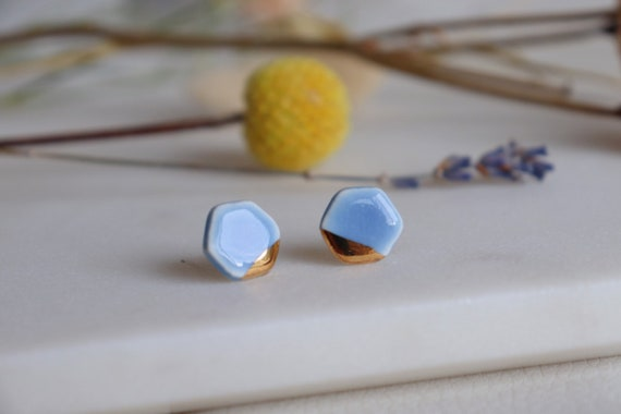 Red hexagon/ baby blue porcelain studs
