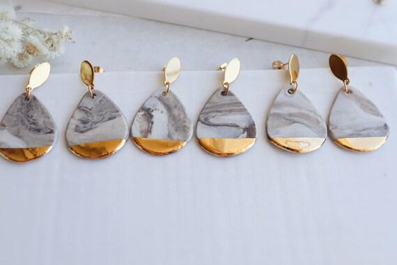 Marble  pattern porcelain dangle earrings