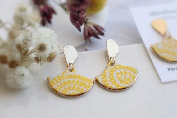 Hexagon yellow pattern   porcelain dangle earrings