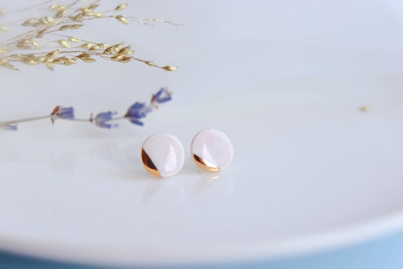 Dainty ceramic studs /22kt gold luster