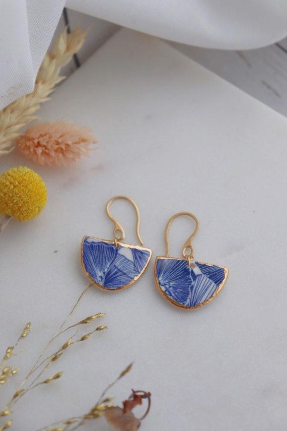Semicircle  Ginkgo leaves gold rim Dangle porcelain Earrings