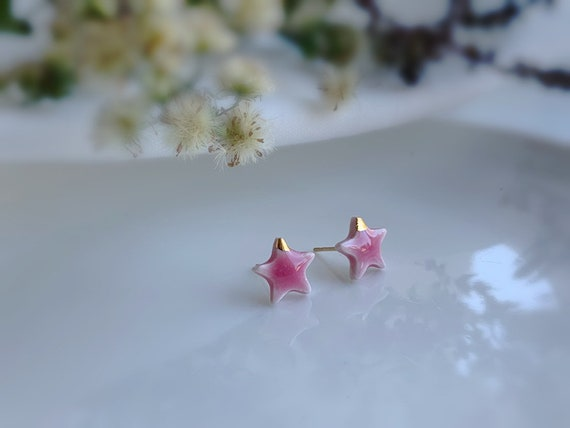 Dainty baby pink ceramic studs /22kt gold luster