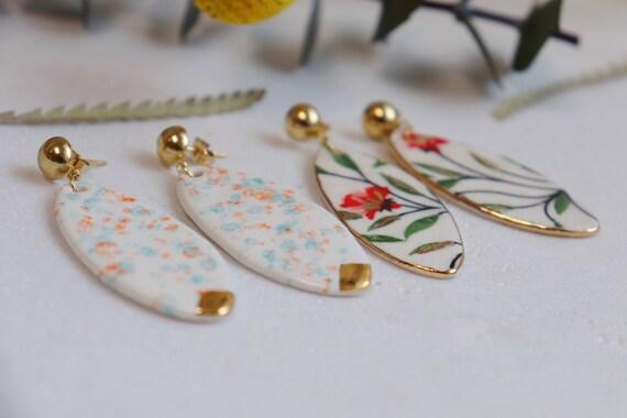 Long surfboard shaped porcelain dangle earrings