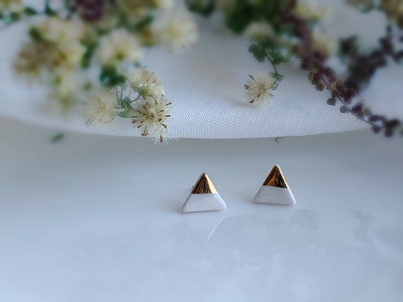 triangle Gold dipped porcelain studs /22kt gold luster