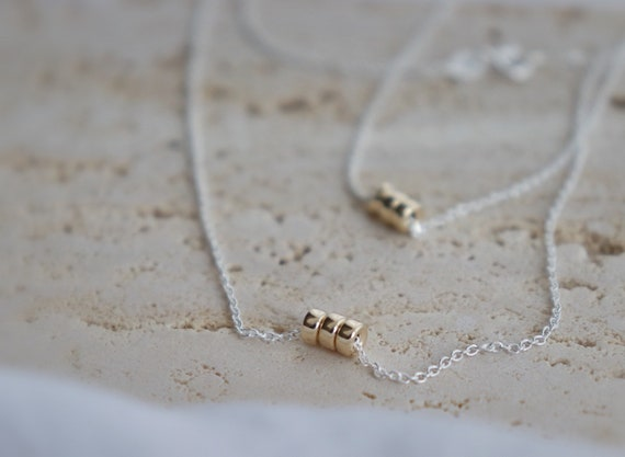 Minimalist gold filled beads silver necklaces