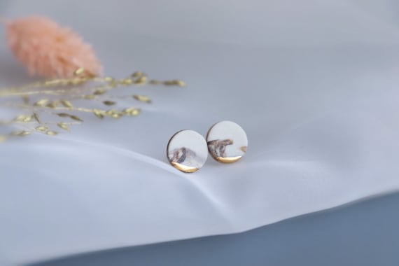 Marble round Gold dipped porcelain studs /22kt gold luster