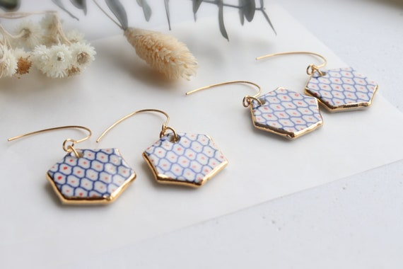 Blue /red dots porcelain dangle earrings