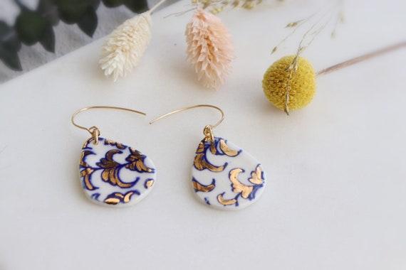 Blue flowery patterned porcelain earrings