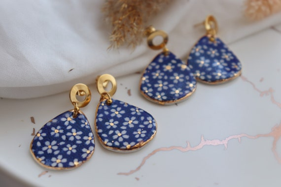 Blue daisies porcelain dangle earrings