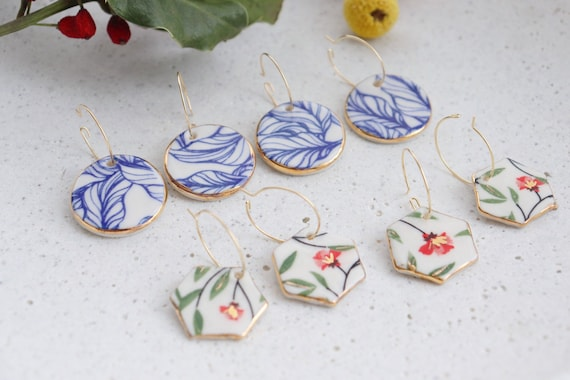 Blue plants  veins / Red floral & plants porcelain earrings