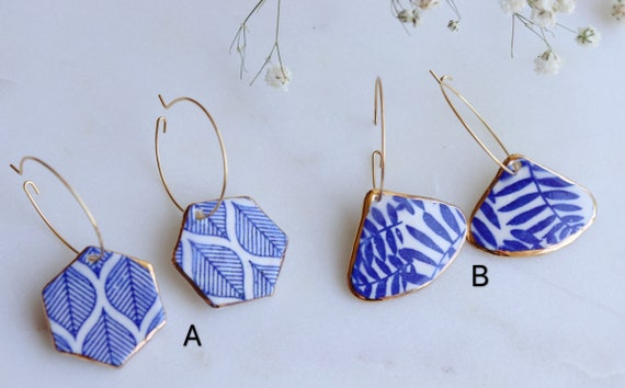 Blue and white porcelain print dangle earrings