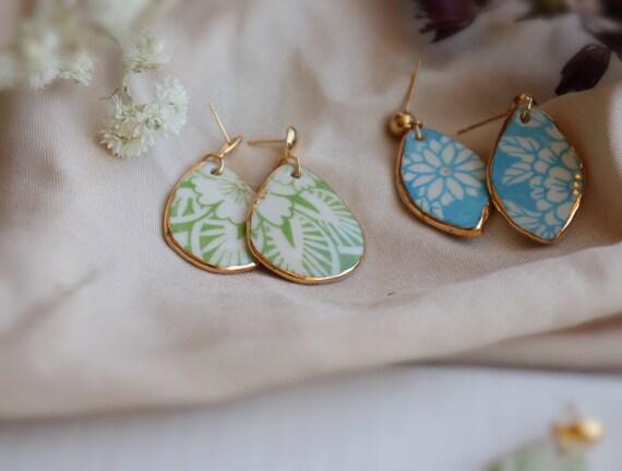 Sky blue  teardrop floral pattern  porcelain dangle earrings