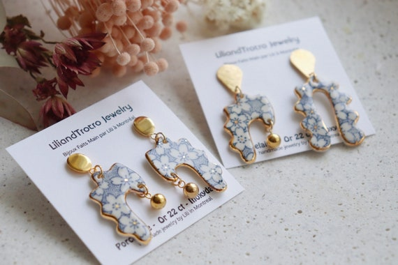 New: cherry blossom pattern chandelier porcelain dangle earrings,gift for her, unique piece,ceramic,one of the kind