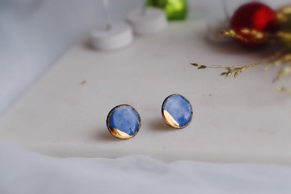 Porcelain 22kt gold mini button studs