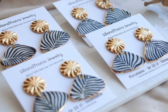 Blue zebra lines ( Black & Blue) porcelain earrings