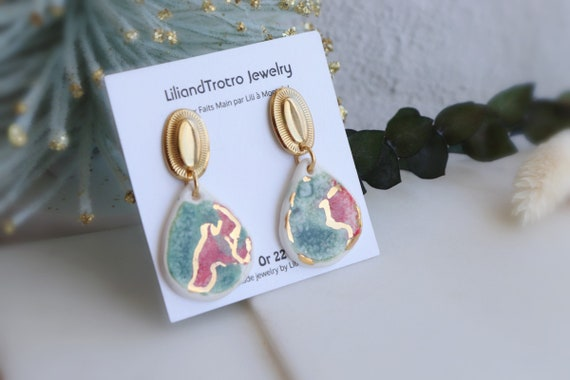 Watermelon color porcelain dangle earrings