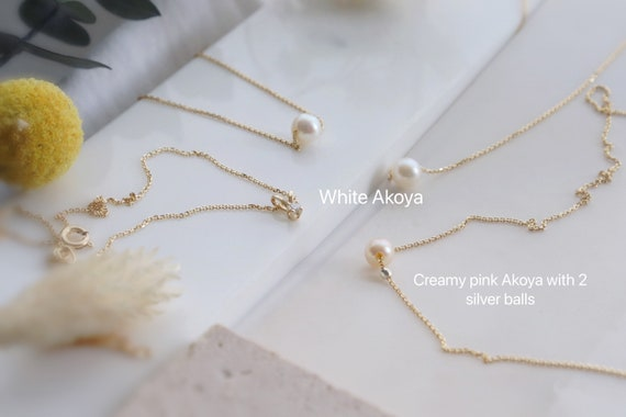 10kt /14kt Solid yellow Gold minimal Akoya pearl / Diamond necklaces