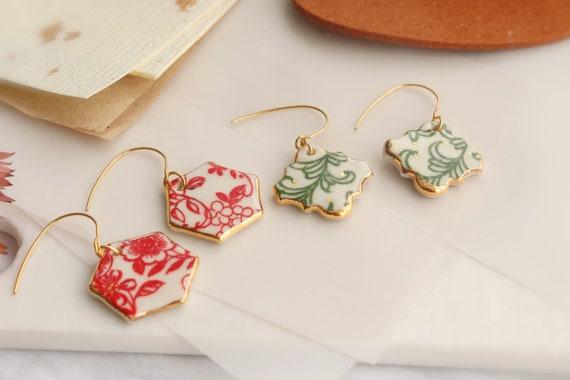 Hexagon Red/Green floral porcelain dangle earrings/ ceramic / gift for her/handmade