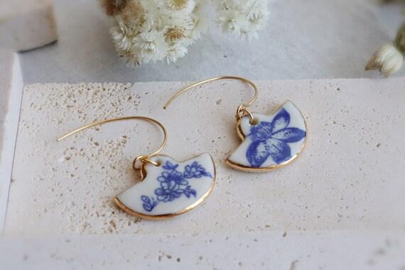 Blue peony Fan shaped blue flowers porcelain dangle earrings