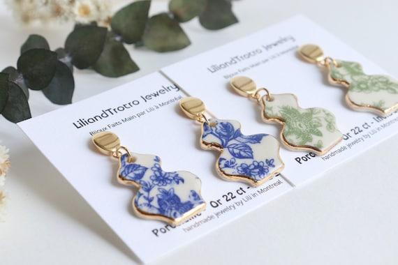 Vase shaped Blue/Green floral porcelain dangle earrings